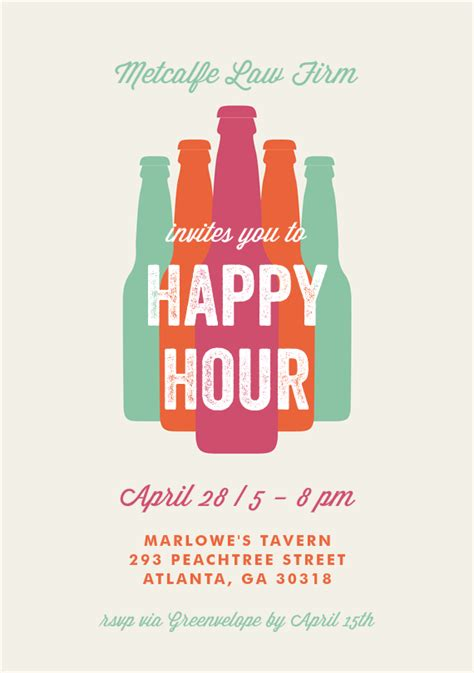 Bottled Happy Hour Invitations In Creme Happy Hour Bottle And Packaging Design Happy Hour Invite Template