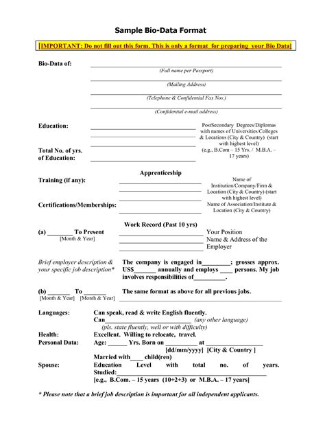 biography in bullet form search results for sle bio data for job calendar 2015