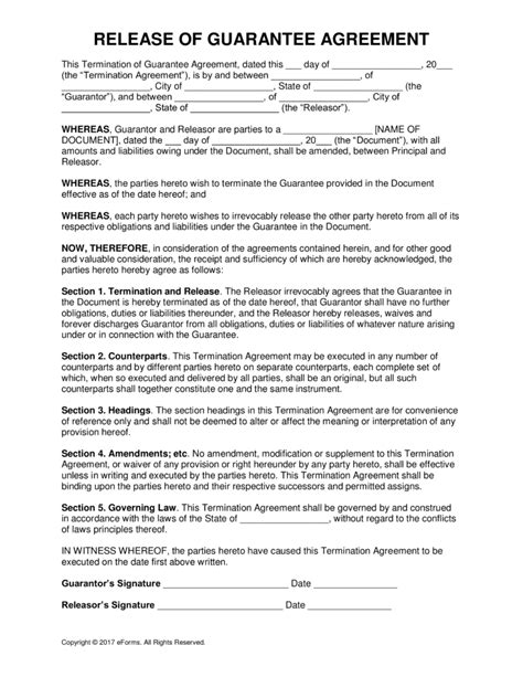 personal guarantee form free release of personal guarantee form pdf word