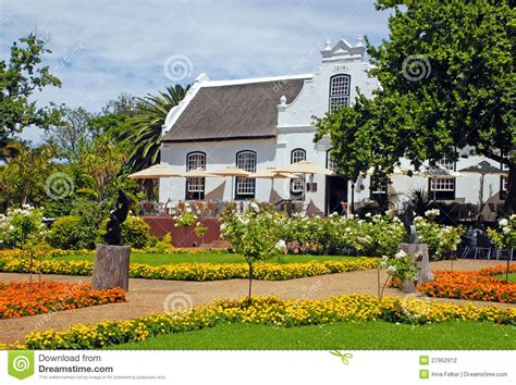 colonial farm house  flowerssouth africa stock