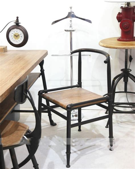 Meja Makan Besi Tempa negara amerika karat mebel kayu antik kursi besi tempa