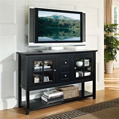 walker edison wood and glass highboy style 55 inch tv