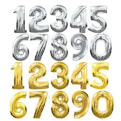Number Foil Balloon 32 inches gold silver number foil balloons digit helium