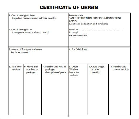 certificate of origin template word sle certificate of origin template 14 free documents