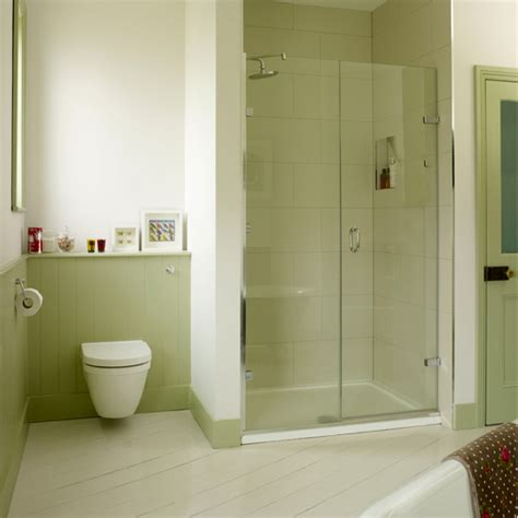 green bathroom with alcove shower country decorating