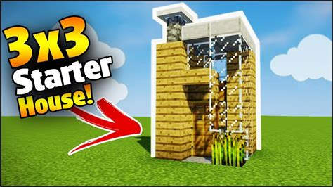 how to build a house minecraft 3x3 starter house tutorial how to build a house in minecraft youtube