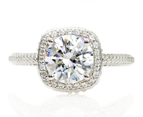 platinum moissanite engagement ring halo 2ct by
