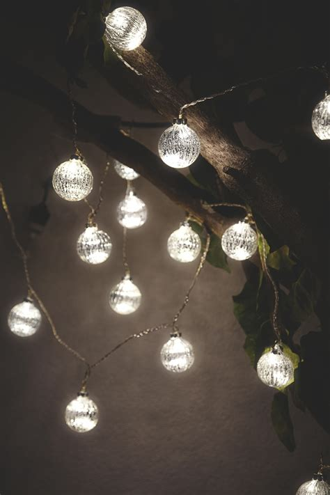 Hang These Ascella Silver Bauble String Lights On Trees Or Outdoor Bauble Lights