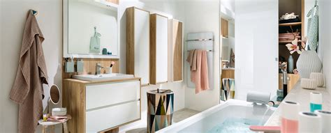 salle de bain blanche  bois ambiance scandinave mobalpa