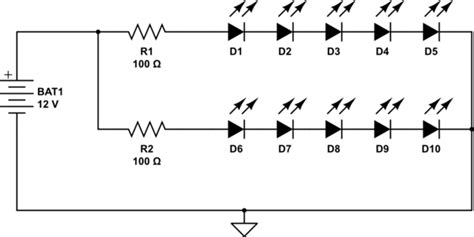 resistors for leds in parallel resistors how to wire 2 volt flickering leds to work on 12v auto system electrical