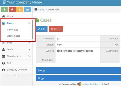 bootstrap layout left menu user guide customer support portal