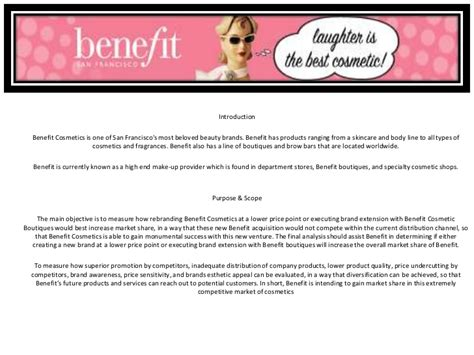 Benefit Cosmetics   Sample Market Research Project