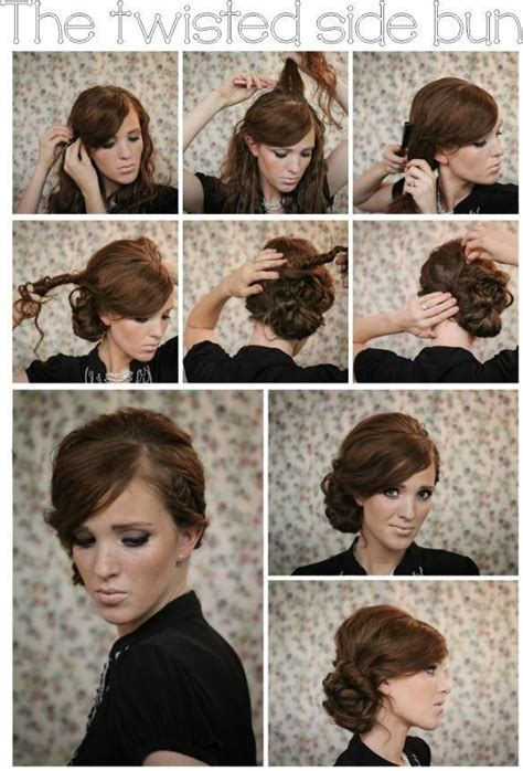 bun and and front twist twisted side bun updo hairstyles tutorial heart shape