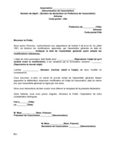 Lettre De Recommandation Objet Lettre De D 233 Claration De La Modification De L Objet De L Association Mod 232 Le De Lettre Gratuit