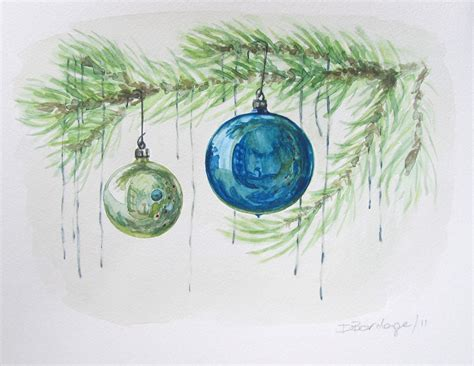 watercolour wednesday blue christmas ornaments