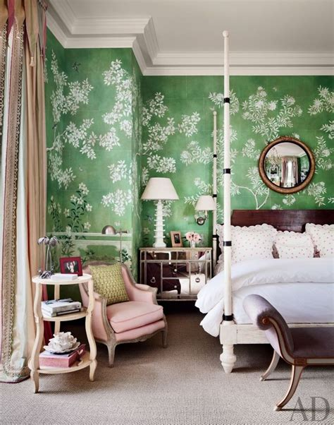 green wallpaper for bedroom mario buatta bedrooms pinterest