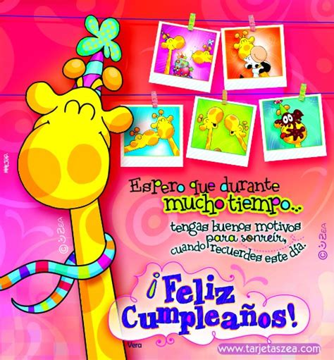 imagenes de cumpleaños tarjetas zea jirafa vera con fotos de recuerdos de cumplea 241 os 169 zea www