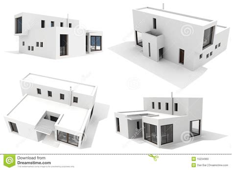 new 3d house isolated on white background 3d modern house isolated on white background stock