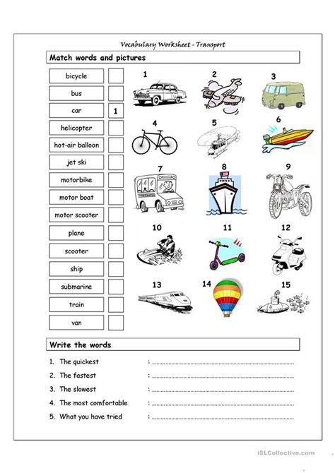 Vocabulary Matching Worksheet by Vocabulary Matching Worksheet Transport Worksheet Free