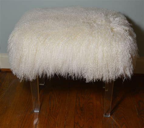 mongolian fur bench real mongolian lamb fur bench acrylic legs tibet lamb stool