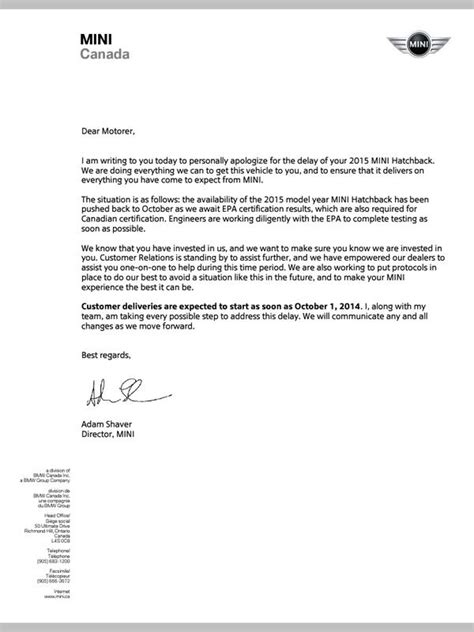 Thank You Letter For Postpone F56 2015 Cda Letter Re Delay Rec D Today American Motoring