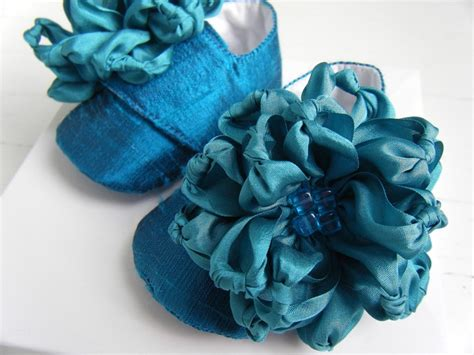 teal flower shoes baby shoes teal blue silk flower shoes booties