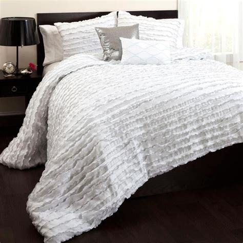 pretty ruffled white comforter set for the home pinterest