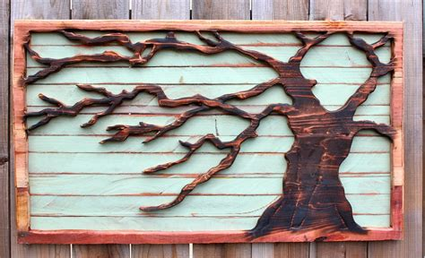 reclaimed wood tree wall hanging rustic home decor
