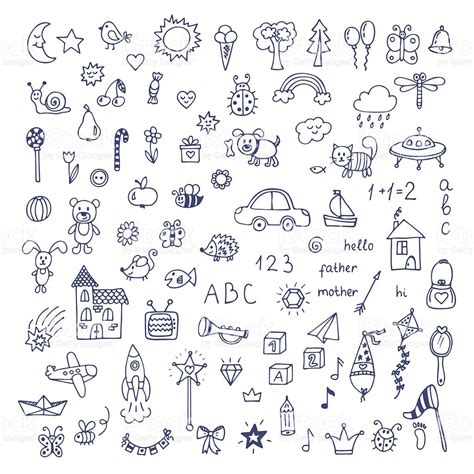 doodle drawing vector set of doodles doodle children drawing