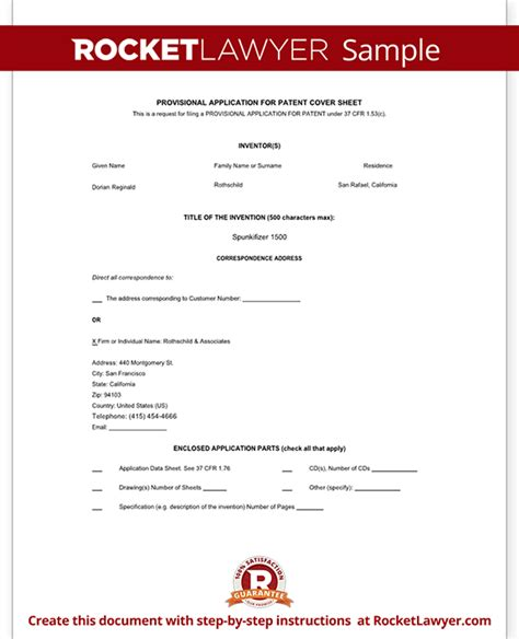 patent template provisional patent application form free template with