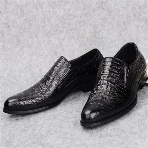 crocodile skin leather shoes slip on italian business