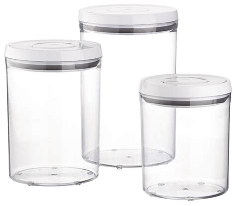 3 Piece Oxo 174 Pop Round Containers With Lids Set Modern Bathroom Storage Containers