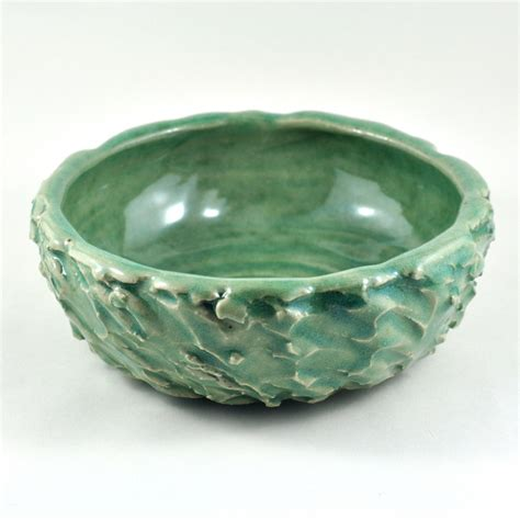 Handmade Pottery At Home - ceramic stoneware bowl textured green unique handmade
