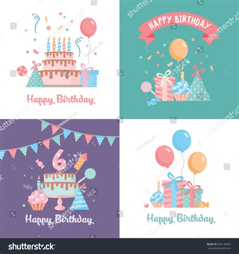 happy everything card template set happy birthday card template stock vector