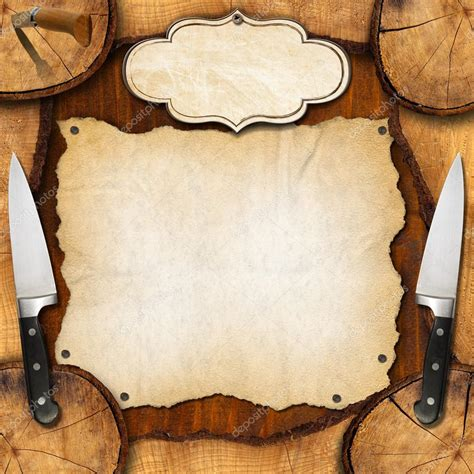 Kitchen Chef Knives by Rustic Menu Background Stock Photo 169 Catalby 52615973