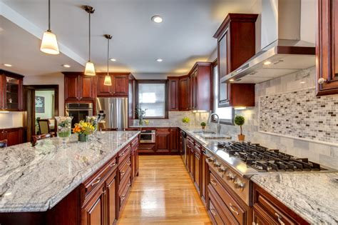Gray Kitchen Cabinet Ideas viscont white granite countertops with cherry cabinets