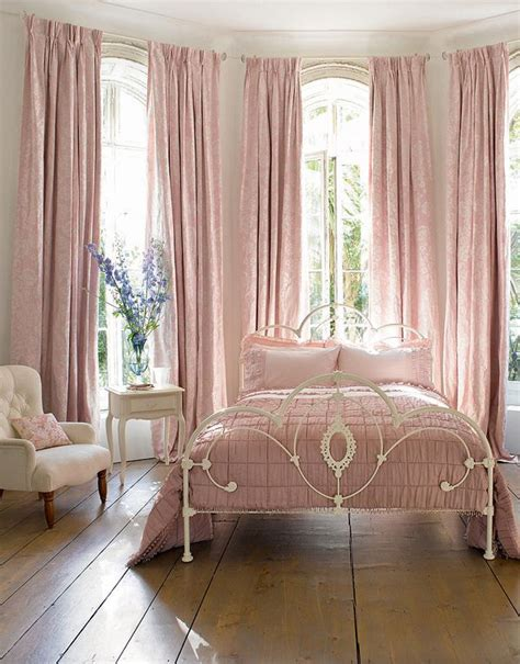 laura ashley pink curtains vintage chic romantic bedroom ceiling to floor drapes