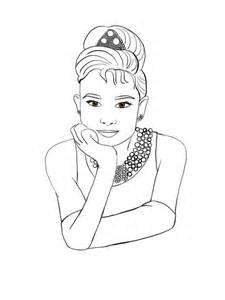 Audrey Hepburn Illustration On Society6 sketch template