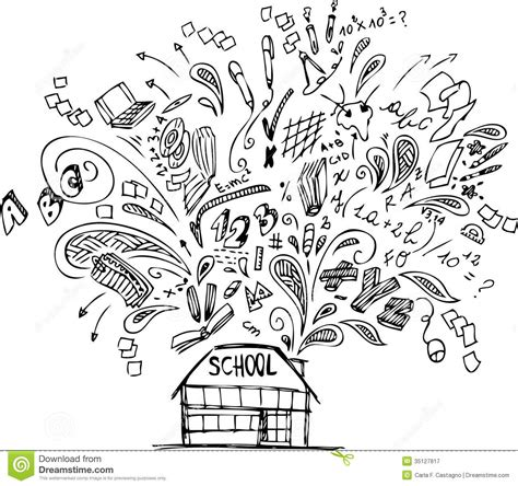 how to create digital doodle school building with doodles royalty free stock