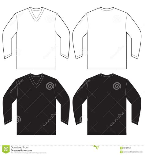 design a shirt front and back black white long sleeve v neck shirt template stock vector