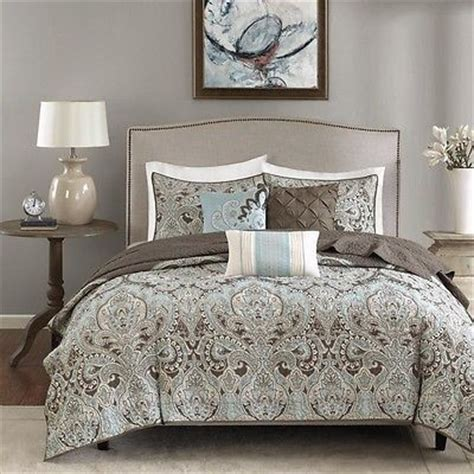 light quilts and coverlets cal king 6pc light blue cream taupe pattern paisley quilt