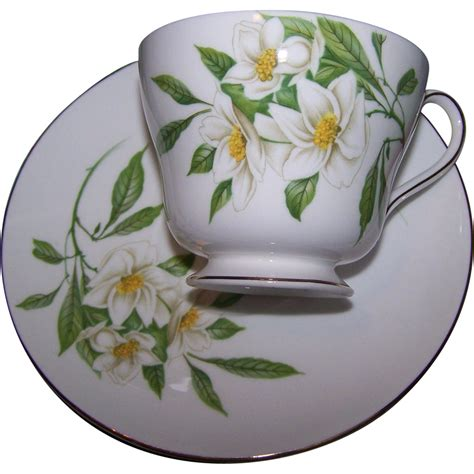 One Set Flower shelley bone china tea cup saucer set floral syringa flower of from victoriasjems on ruby