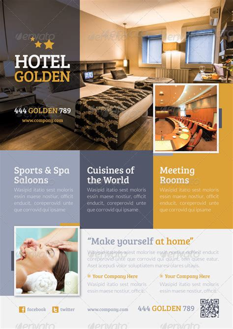 hotel golden flyer template by grafilker graphicriver