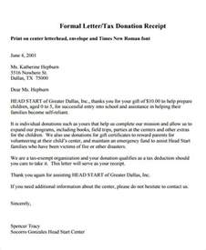 Donation Receipt Letter For Tax Purposes Donation Letter Exles