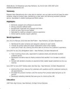 Salon Receptionist Sle Resume by Professional Salon Receptionist Templates To Showcase Your Talent Myperfectresume