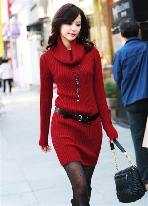Turtleneck Sweater Dress High Quality high quality sleeve turtle neck sweater dress wine