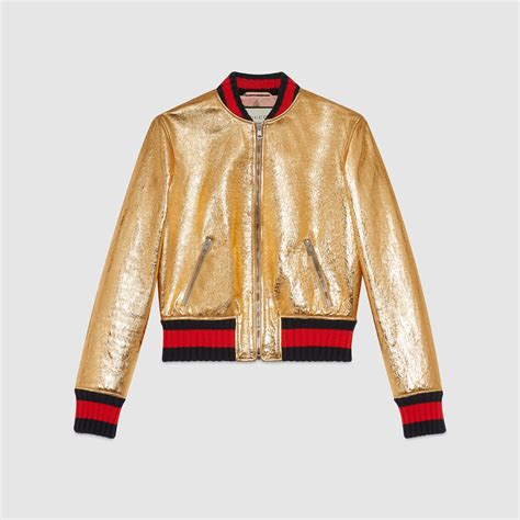 Jaket Ggs gucci metallic leather bomber jacket in metallic lyst