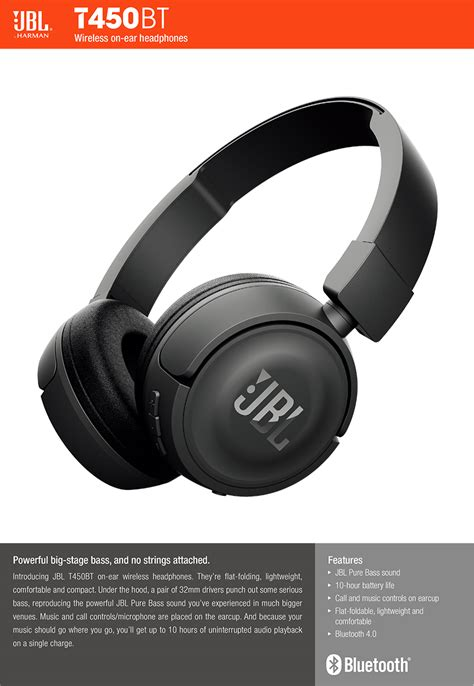 Jbl T450bt Wireless Headphone White jbl t450bt bass sound bluetooth wireless on ear