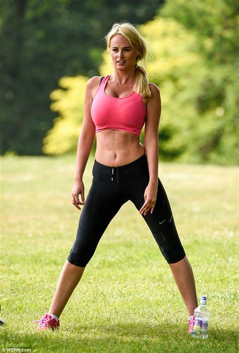 Bim Sheer Top rhian sugden displays slender in pink sports