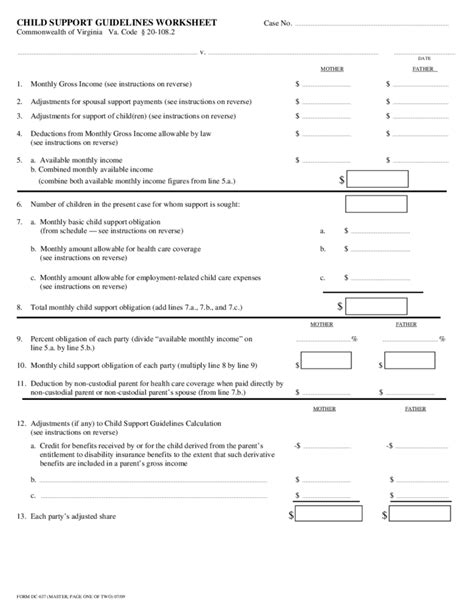Child Support Worksheet by Worksheets Virginia Child Support Worksheet Opossumsoft
